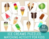 Ice Cream Matching Activity, 52 Puzzles, Busy Bags, Quiet