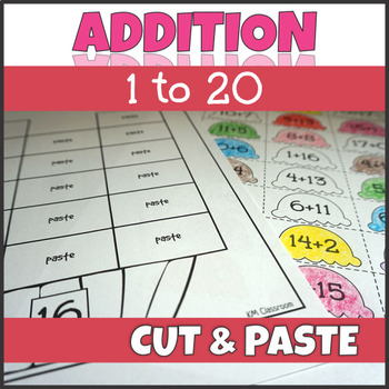 Ice Cream Math Addition Facts to 20 Cut and Paste