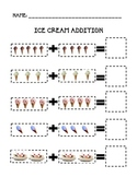 Ice Cream Math Addition page