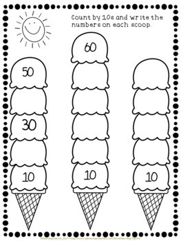 Ice Cream Math - Counting by 2s, 5s and 10s