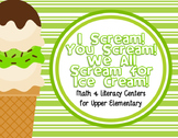 Ice Cream Math & ELA Centers for Upper Elementary
