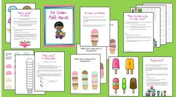 Ice Cream Math Games for Preschool or Kindergarten