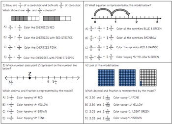 Color by Number Decimals, Fractions, and Number Lines