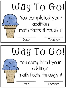 Ice Cream Math Timed Test Pack (addition)