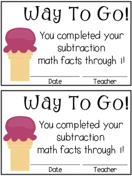 Ice Cream Math Timed Test Pack (subtraction)