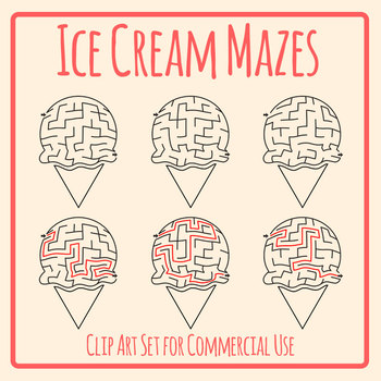 Ice Cream Mazes with Solutions Clip Art Set for Commercial Use