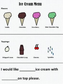 Ice Cream Menu and Visual Prompt Task Card
