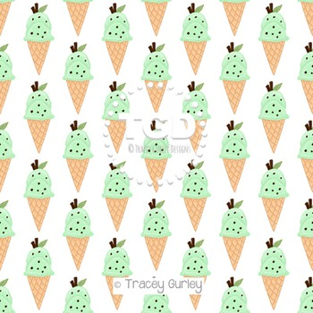 Ice Cream - Mint Chocolate Chip on White digital paper Printable Tracey Gurley