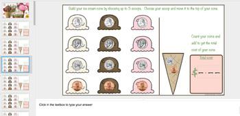 Ice Cream Money Coin Counting Math Center