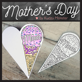 Ice Cream Mother's Day Card Coloring Activity