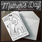Giraffe Mother's Day Card Coloring Activity