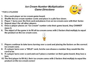 Ice Cream Multiplication Fact Game