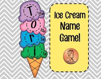 Ice Cream Name Game (Making Change Activity)