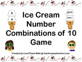 Ice Cream Number Combinations of 10 Game