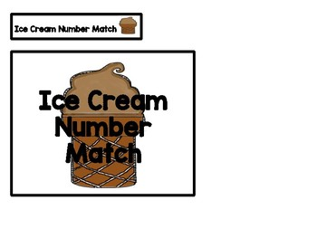 Ice Cream Number Match 1-10 File Folder