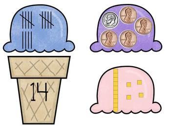 Ice Cream Number Match Math Center