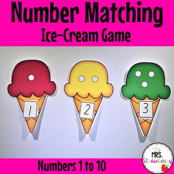 Ice Cream Number Match Game 1-10