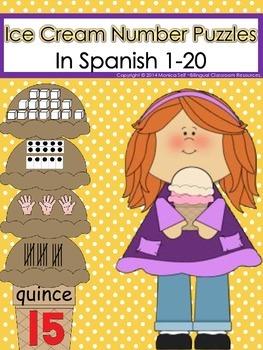 Ice Cream Number Puzzles In Spanish 1-20