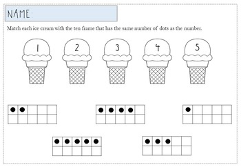 Ice Cream Number Recognition Game and Worksheets