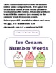 Ice Cream Number Words File Folder Game