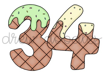 Ice Cream Numbers Digital Clip Art Set