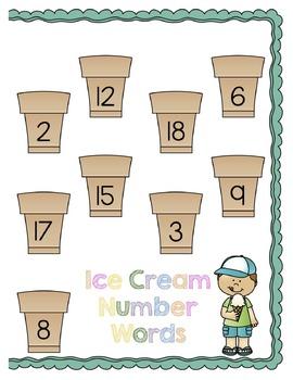 Ice Cream Numeral Match File Folder Game