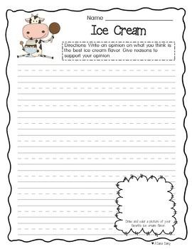 Ice Cream Opinion Writing