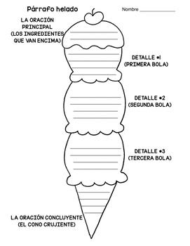 Ice Cream Paragraph Graphic Organizer (Bilingual-Spanish)