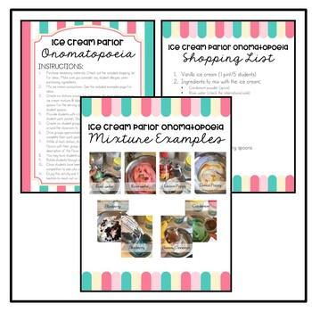 Ice Cream Parlor Figurative Language - An Onomatopoeia Activity