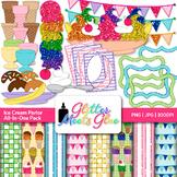 Ice Cream Clip Art, Scrapbook Paper, & Frames {Summer Graphics for Activities}