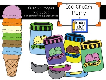 Ice Cream Party! Clipart by Kady Did Doodles