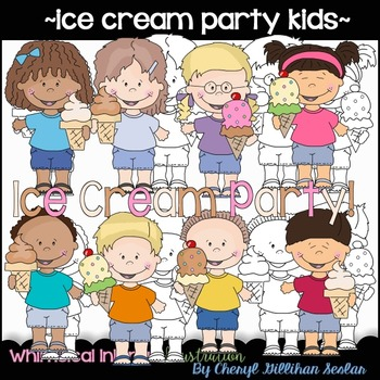 Ice Cream Party Kids Clipart Collection