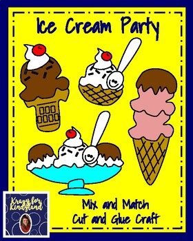 Ice Cream Party: Mix and Match, Cut and Glue Craft