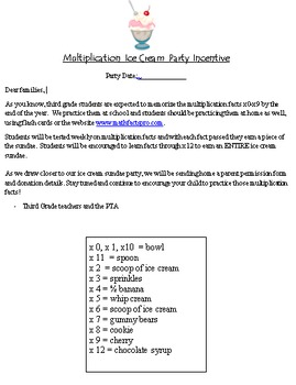Multiplication Timed Tests and Ice Cream Party