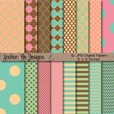 Ice Cream Party Quatrefoil, Chevron, Polka Dot & Striped Paper Pack