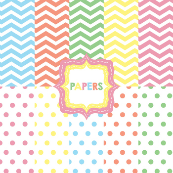 Ice Cream Digital Paper and Clip Art Pack