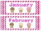 Ice Cream Patterning Calendar Cards & Headers (4 Sets & 12 Months!)