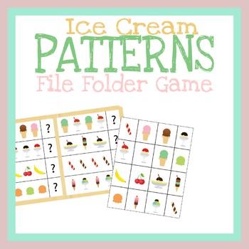 Ice Cream Patterns File Folder Game, Printable Worksheet, Quiet Book Activity