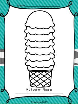 Ice Cream Patterns - a printable math pattern unit activity