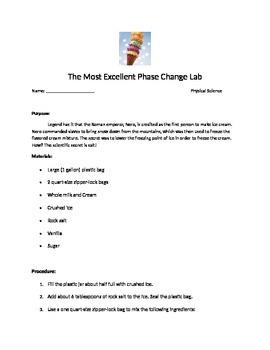 Ice Cream Phase Change Lab