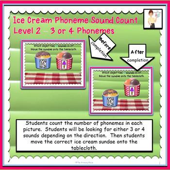 Ice Cream Phoneme Sound Count Interactive ELA Digital Google™ Resource