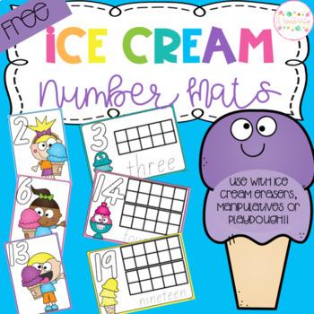 Ice Cream Playdough Number Mats FREEBIE