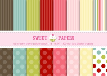 Ice Cream Polka Dots and Stripes Digital Paper Pack - by Sweet Papers