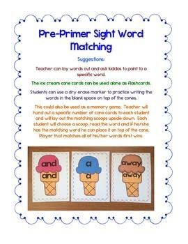 Ice Cream Pre-Primer Words Practice Activity