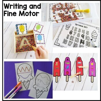 Ice Cream Preschool Theme - Math, Writing, and Literacy Centers