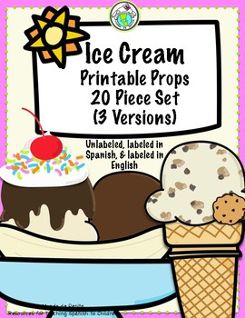 Ice Cream Printable Props Set of 20 Unlabeled, Labeled in Spanish, in English