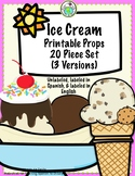 Ice Cream Printable Props Set of 20 Unlabeled, Labeled in
