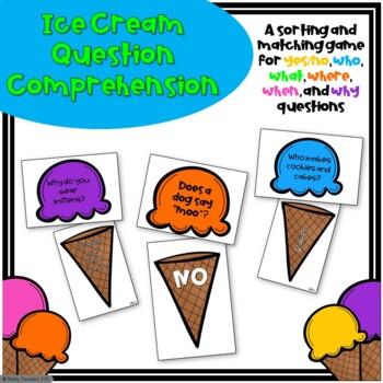 Ice Cream Question Comprehension Activity