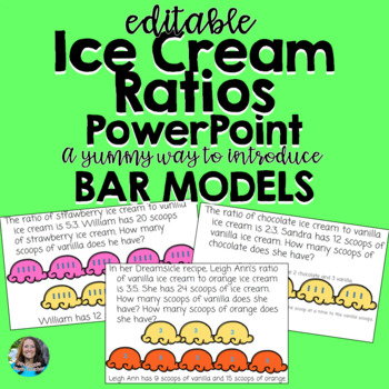 ice cream ratios powerpoint- modeling ratios using tape diagrams and bar  models