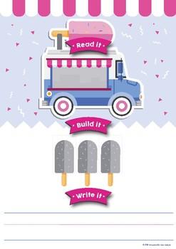 Ice Cream Read it! Build It! Write it! CVC, CVCe & Sight Word Game, Preschool, K